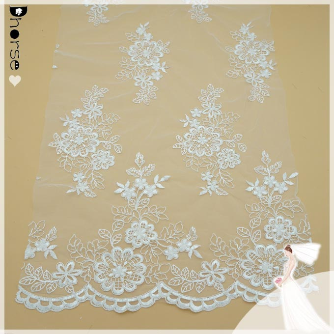 Embroidery lace polyester cutwork lace embroidery designs chiffon ribbon embroidery on mesh fabric Wedding lace fabric