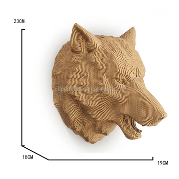 3d Animals Paper Craft Sculpture Wolf Head Decoration Buy 3d
