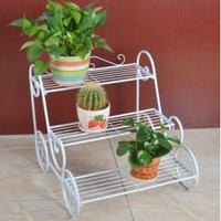 Home kitchen Standing 3 layer White Metal Wire Dlower Plant display rack for home