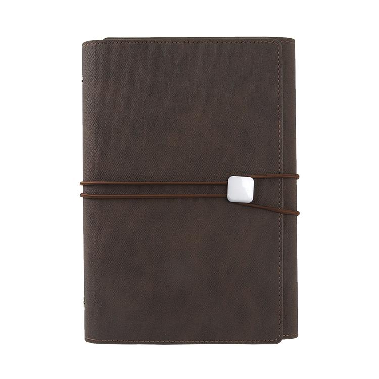 คุณภาพสูงโปรโมชั่นขายส่งหนัง pu 6 holes binder ยืดหยุ่น band travel สมุดบันทึก a5 และปากกากระเป๋า