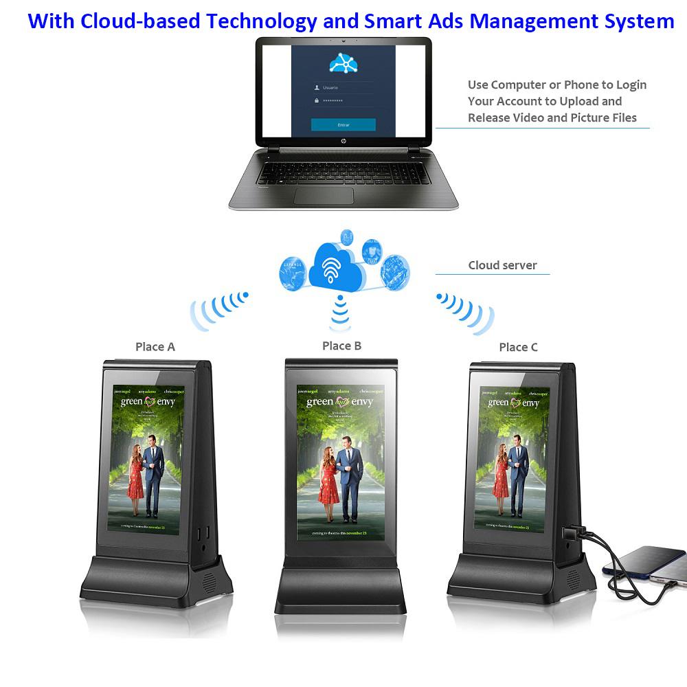मनोरंजन डिजिटल विज्ञापन प्लेयर 7 इंच विज्ञापन प्रदर्शन स्क्रीन टेबलटॉप चार्ज स्टेशन लॉकर पावर बैंक