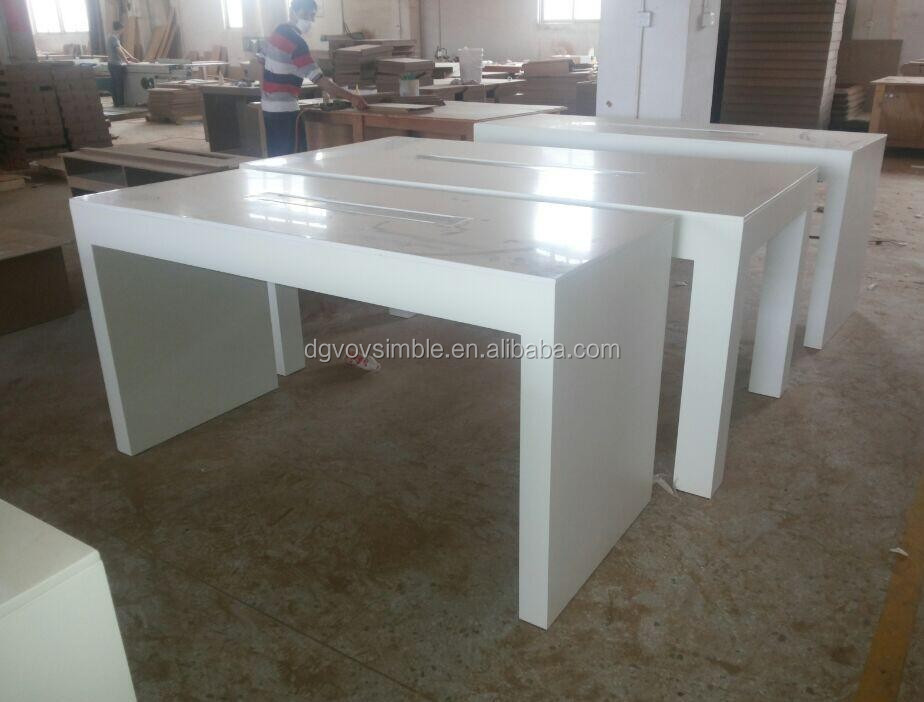 Top Quality Solid Surface Bancone Da Bar/tavolo,Bianco Lucido Tavolo ...