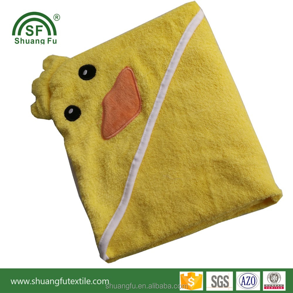Duck cute design 100% cotton terry baby hooded towels
