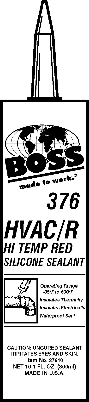 Boss Products 37610 BOSS 376 HVAC/R Hi Temp Red Silicone Sealant