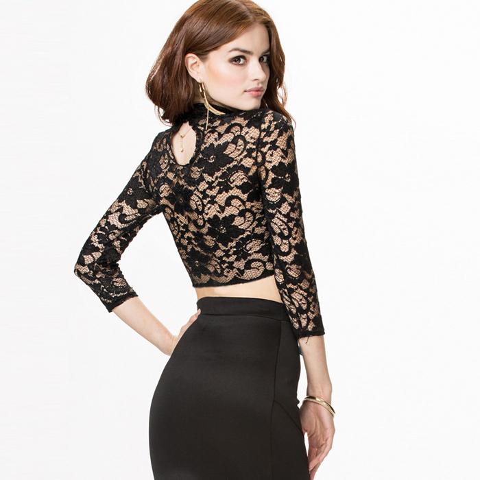 Buy Korean Crop Top Street Fashion 2015 Cotton Autumn T Shirt Lace