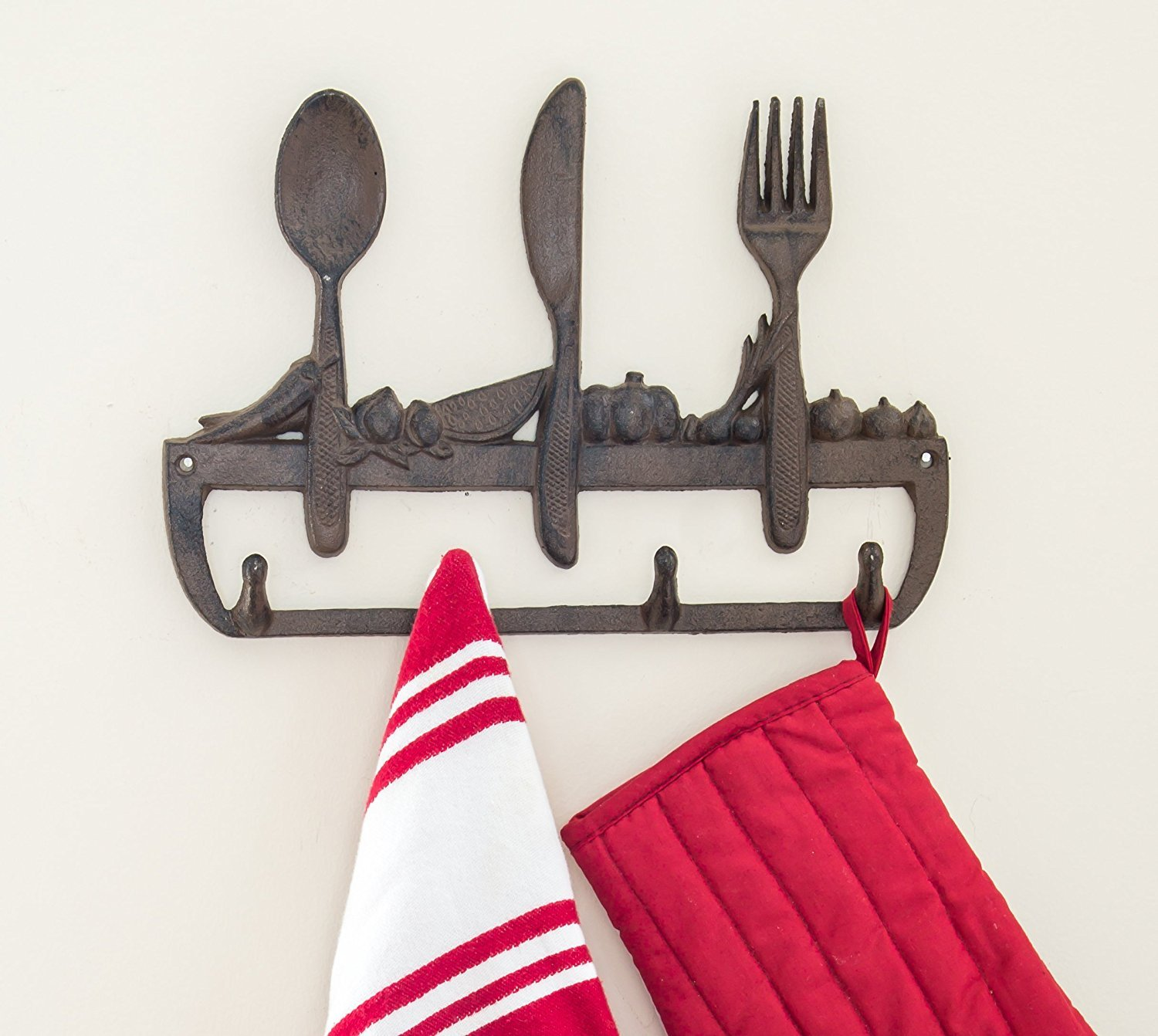 "Cast Iron Wall Hanger For Kitchen - Old Fashioned Spoon, Knife and Fork with 3 Hooks - Decorative Cast Iron Kitchen Storage Towel Rack -11.8 x 8"" With Screws And Anchors By Comfify - CA-1504-23-BR"