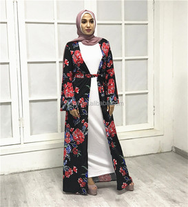 Top Quality Oem Custom Eid Ramadan Digital Flower Printing Red Cape Islamic Kaftan Jubah Men''s Moroccan Abaya Caftan