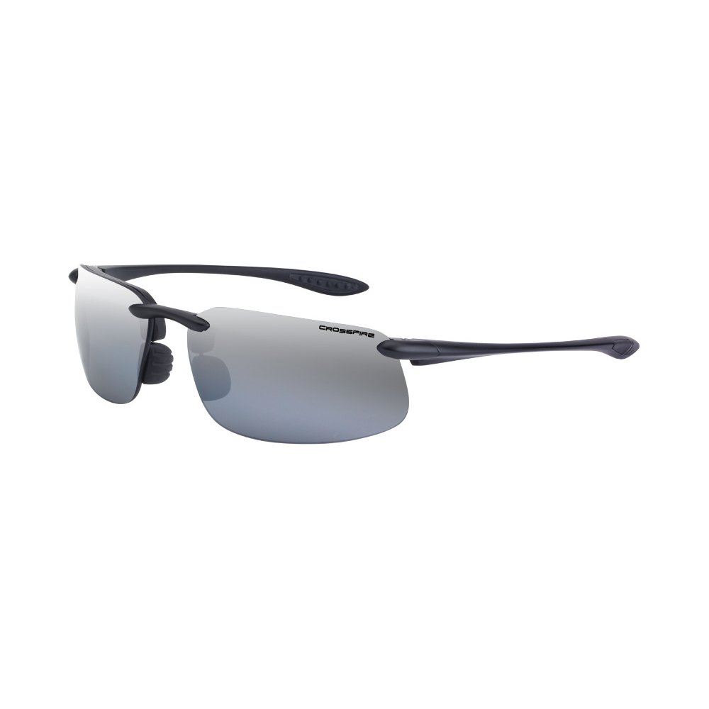 b35217c160 Get Quotations · Crossfire Eyewear 21427 ES4 Polarized Safety Glasses with  Silver Mirror Polarized Lens and Black Frame