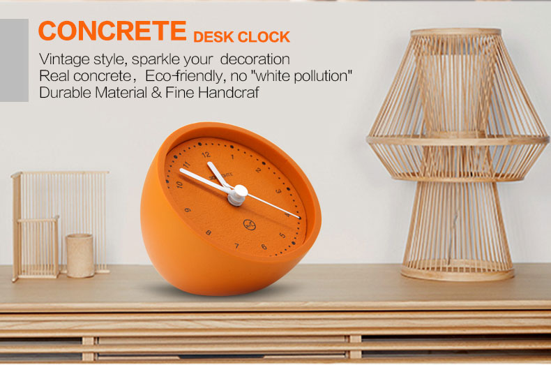 Hight Quality Decorative Orange Round Table Cement Clock For Hom Decor