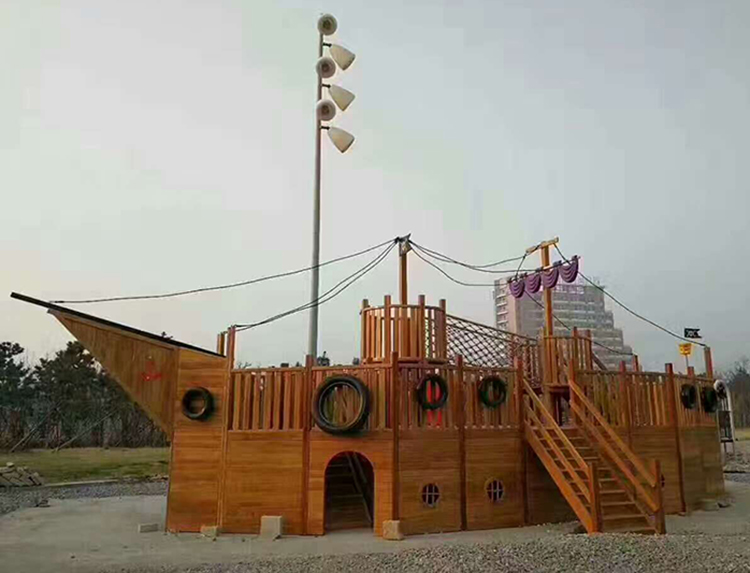 Factory supply large size wooden pirate ship outdoor kids playground