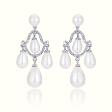 Fashion 18 K Gold Micro Pave Royal Style Pearl Drop Earrings