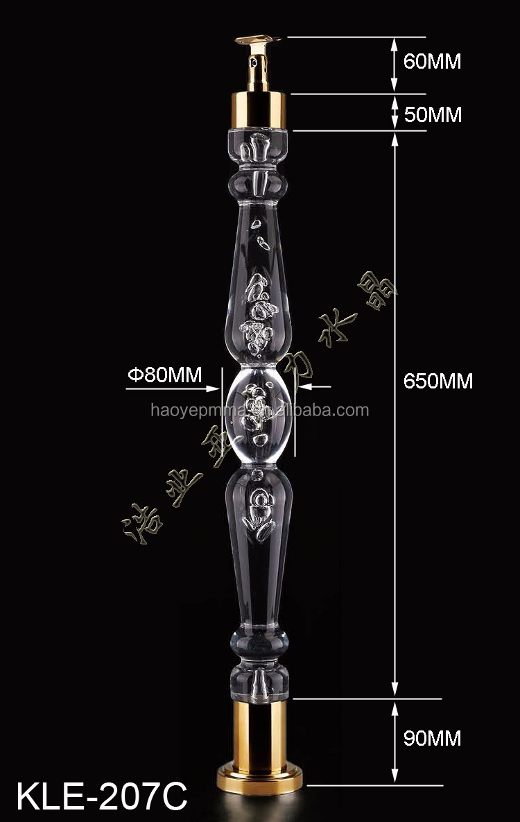 Manufactory Clear Acrylic Baluster Glass Stair Railing