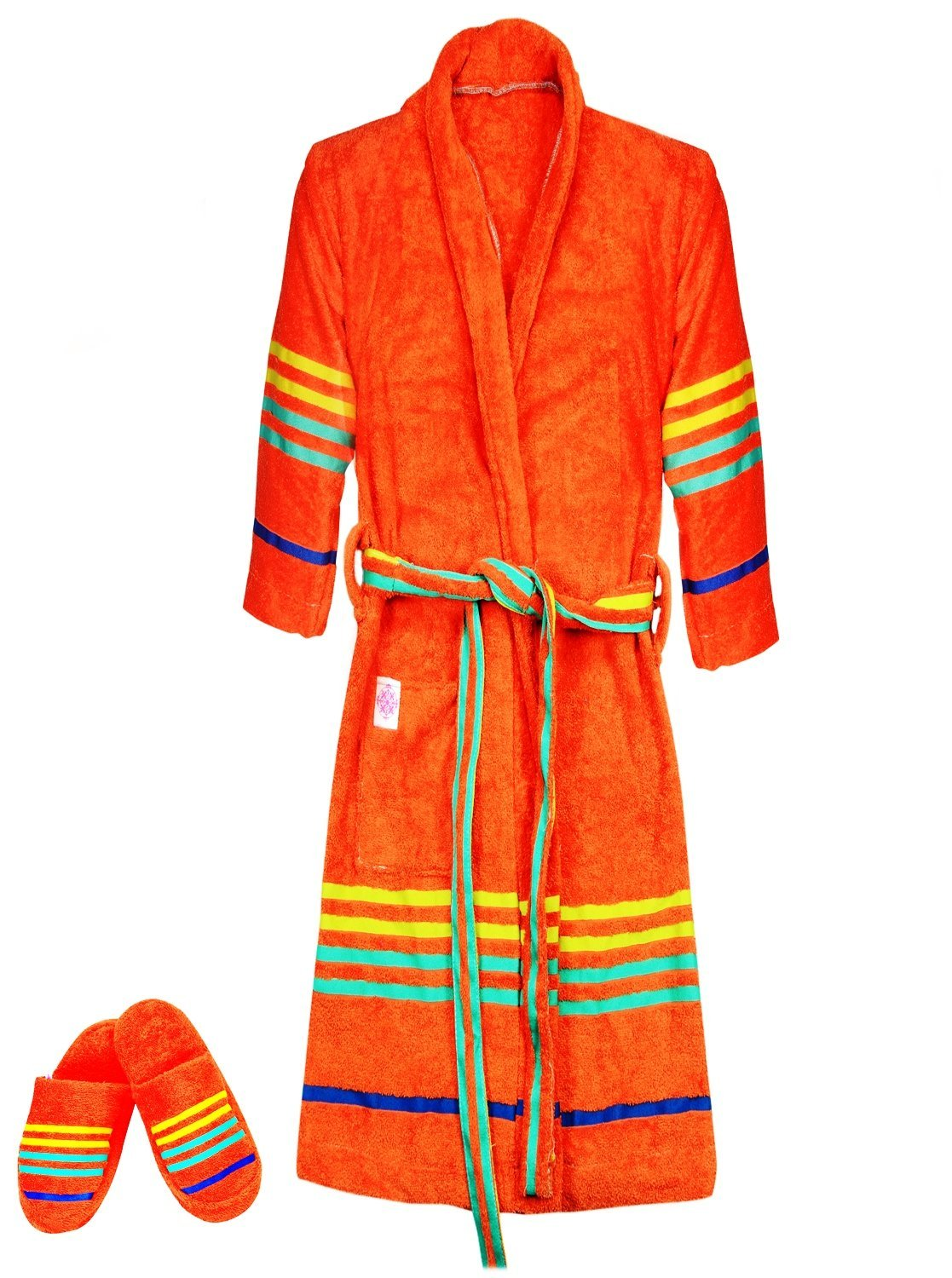e10cfd6b8d Get Quotations · Casa Copenhagen Exotic Terry Cotton Unisex Bathrobe    Slipper Set