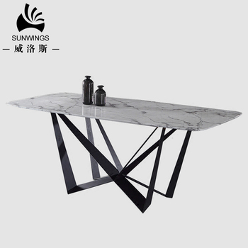 Modern Dining Room Home Furniture Italian Marble Tables Top Carbon