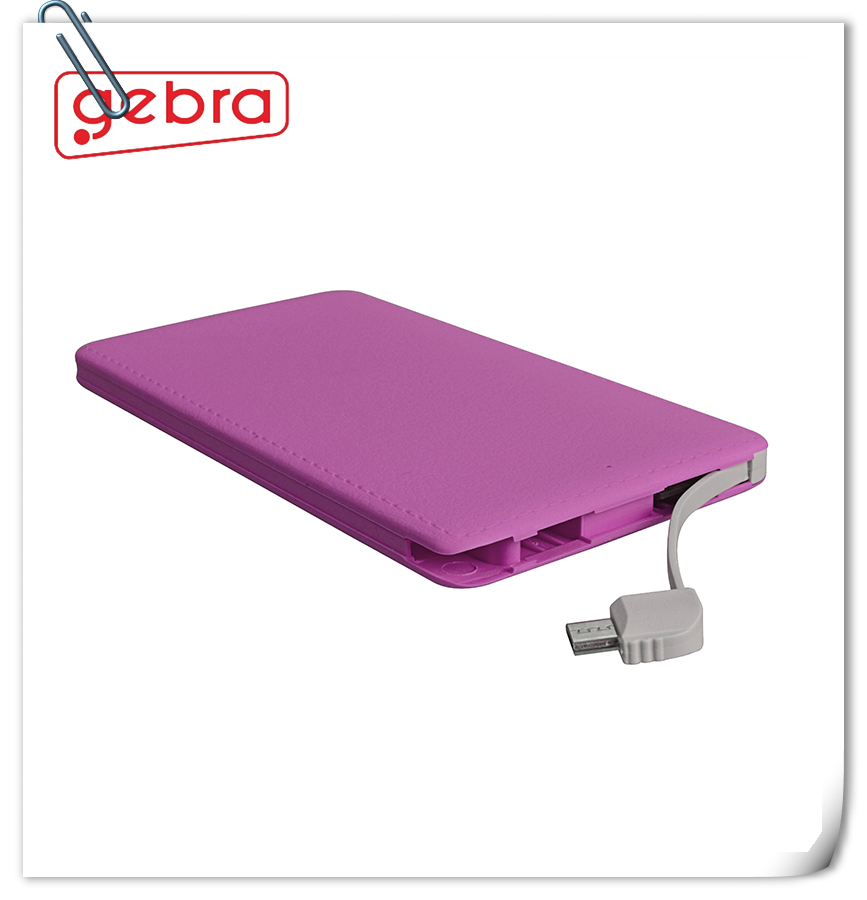 Easy carry out Rapid credit card 4000mAh power bank for iphone ipad and smartphone
