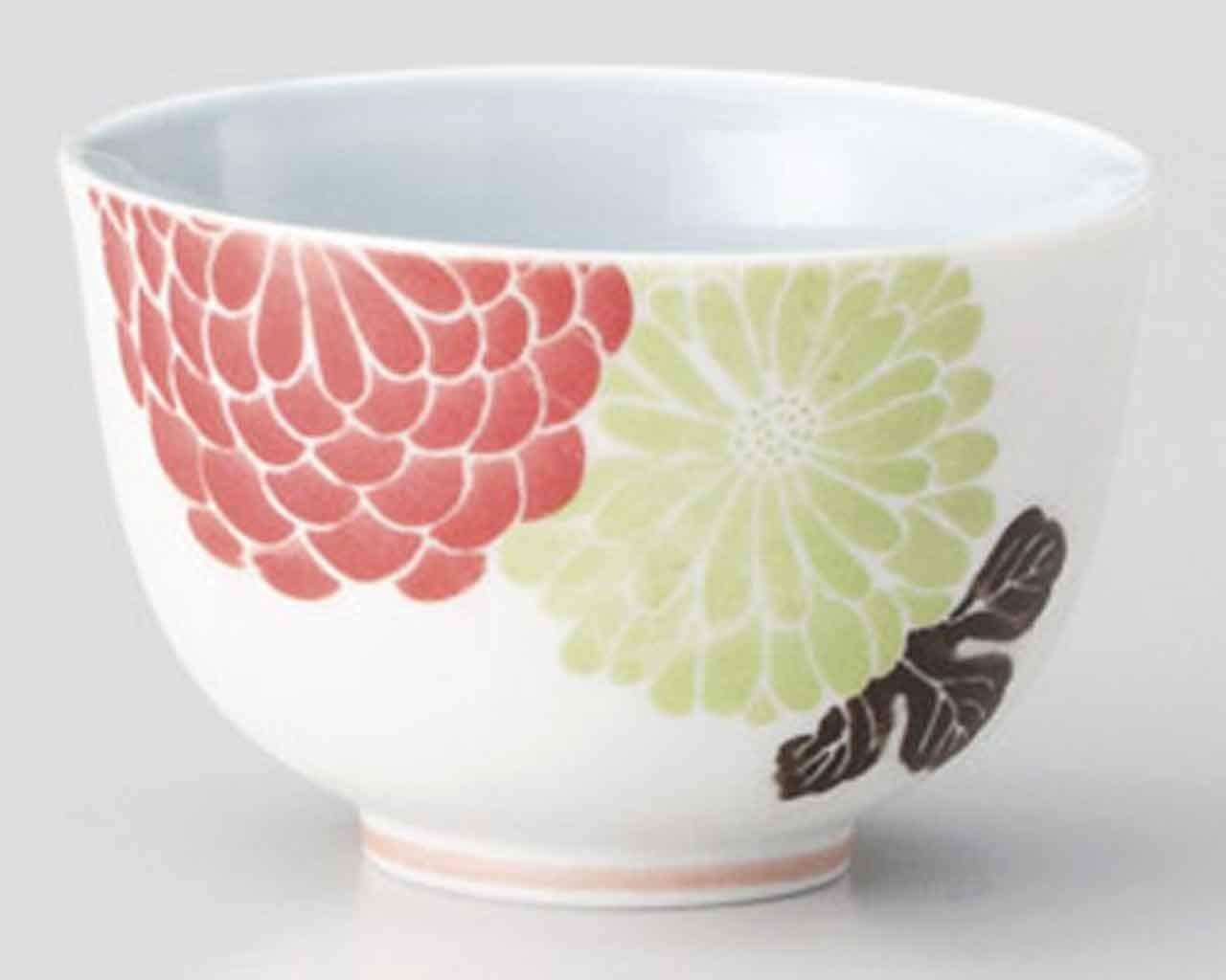 Kiku 3.4inch Set of 2 Japanese Tea Cups White porcelain Made in Japan