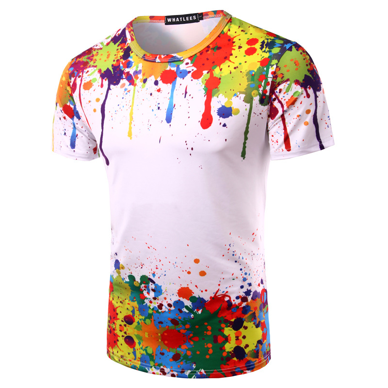 035e7cff521a Detail Feedback Questions about Splashed Paint Tops Summer T shirt Men Short  Sleeve Novelty Printed 3D T shirts 2017 Personality Round Neck Tees ZOOTOP  BEAR ...