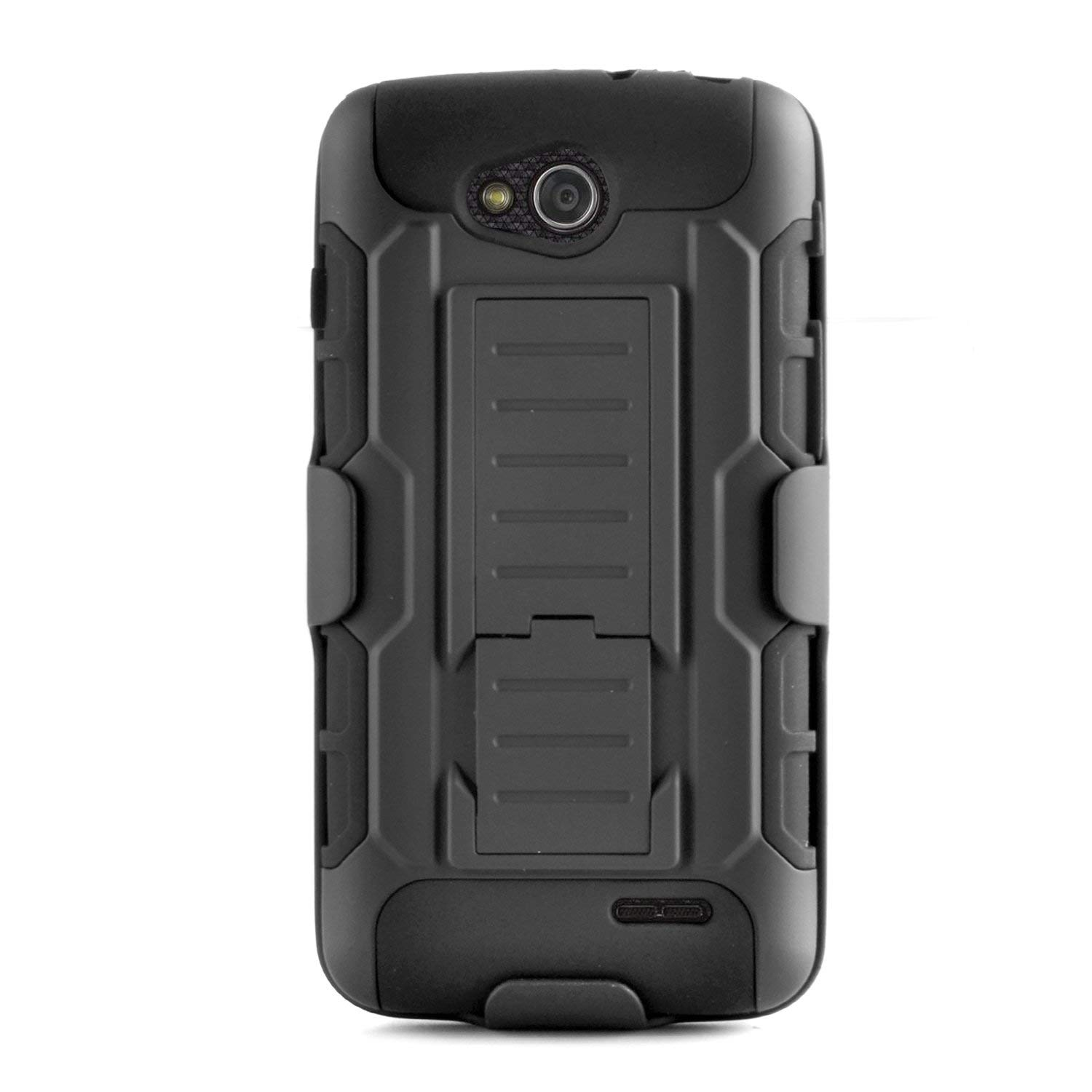 EagleCell - For LG L70 / Ultimate 2 L41C / Exceed 2 / Realm LS620 - Hybrid Protective Skin Case Cover with Stand and Belt Clip Holster - Black/Black
