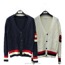 wholesale OEM service long sleeve v-neck striped school uniform cardigan with 2 pockets