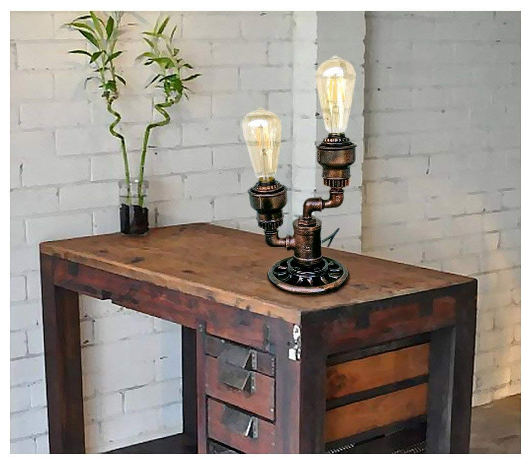 Metal industrial lamp Industrial table lamps for home Lamp edison Edison style desk lamp Vintage style edison bulb Industrial steampunk Machine age lamps Amazon gifts Steam lamp