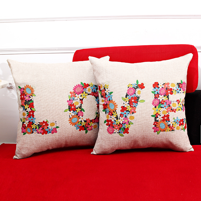 Free shipping wedding decor gift linen fabric throw pillow Hot sale new Love black 4 words 45cm sofa cotton cushion cover