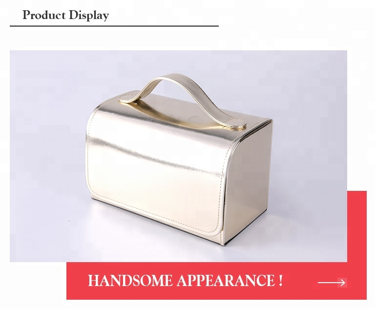 Gold satin lining pu cover personalised makeup brush storage cosmetic case with fixed handle