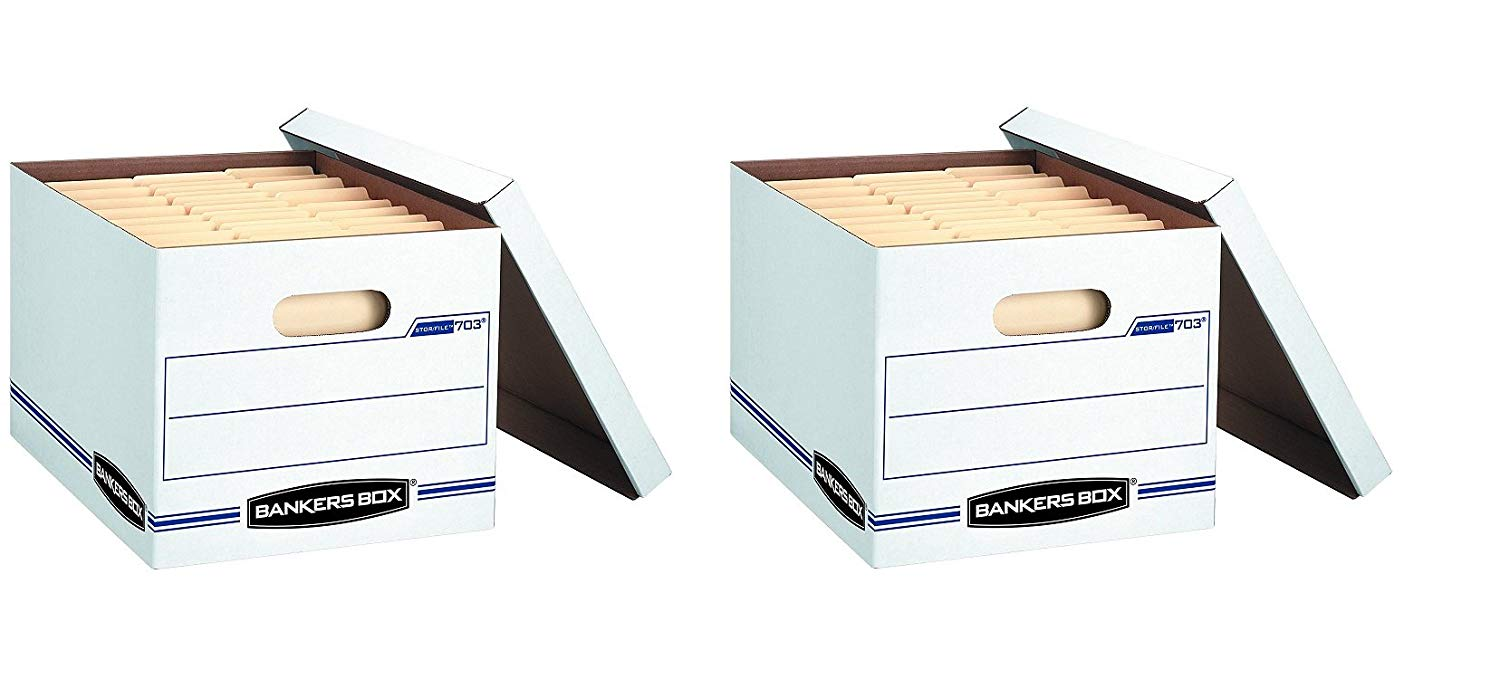 Bankers Box Stor/File Storage Box with Lift-Off Lid, Letter/Legal, 12 x 10 x 15 Inches, White, (2 X Pack of 4)