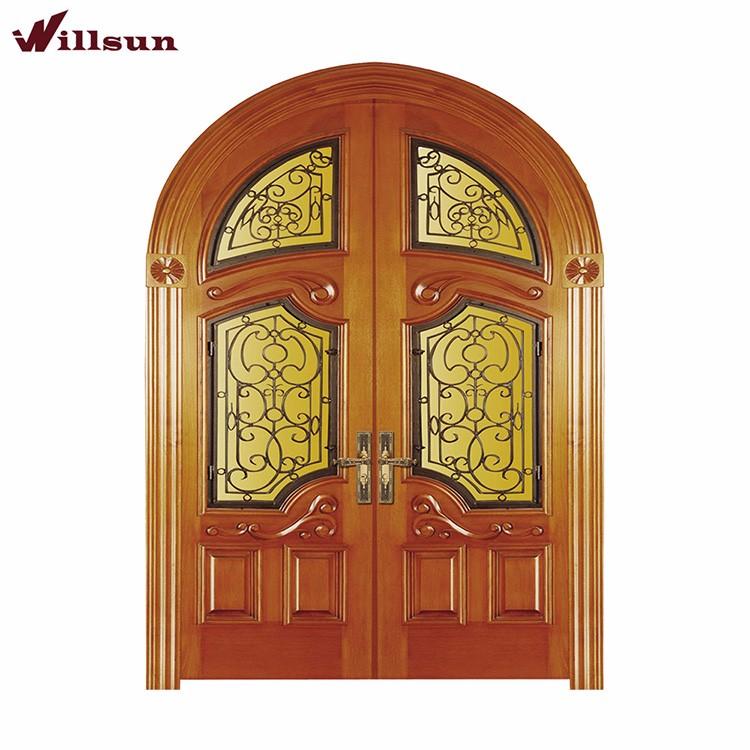 Nuevo dise o forjado decoraci n de hierro vitral puerta for Puertas dobles de madera exterior
