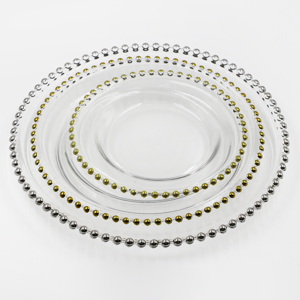 "factory wholesale ready stock13""11""9"" gold beaded wedding or restaurant party use glass charger <strong>plate</strong>"