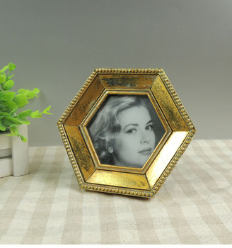 Small Unique 4x4 Hexagon Vintage Gold Photo Frame Bulk Buy Small