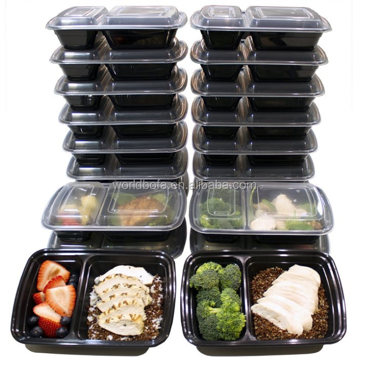 Meal Prep Storage box 2 Compartment plastic food container