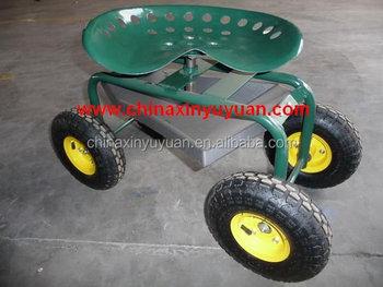 Rolling Garden Scooter Gardening Stool Pad Plant Seat / Wheels
