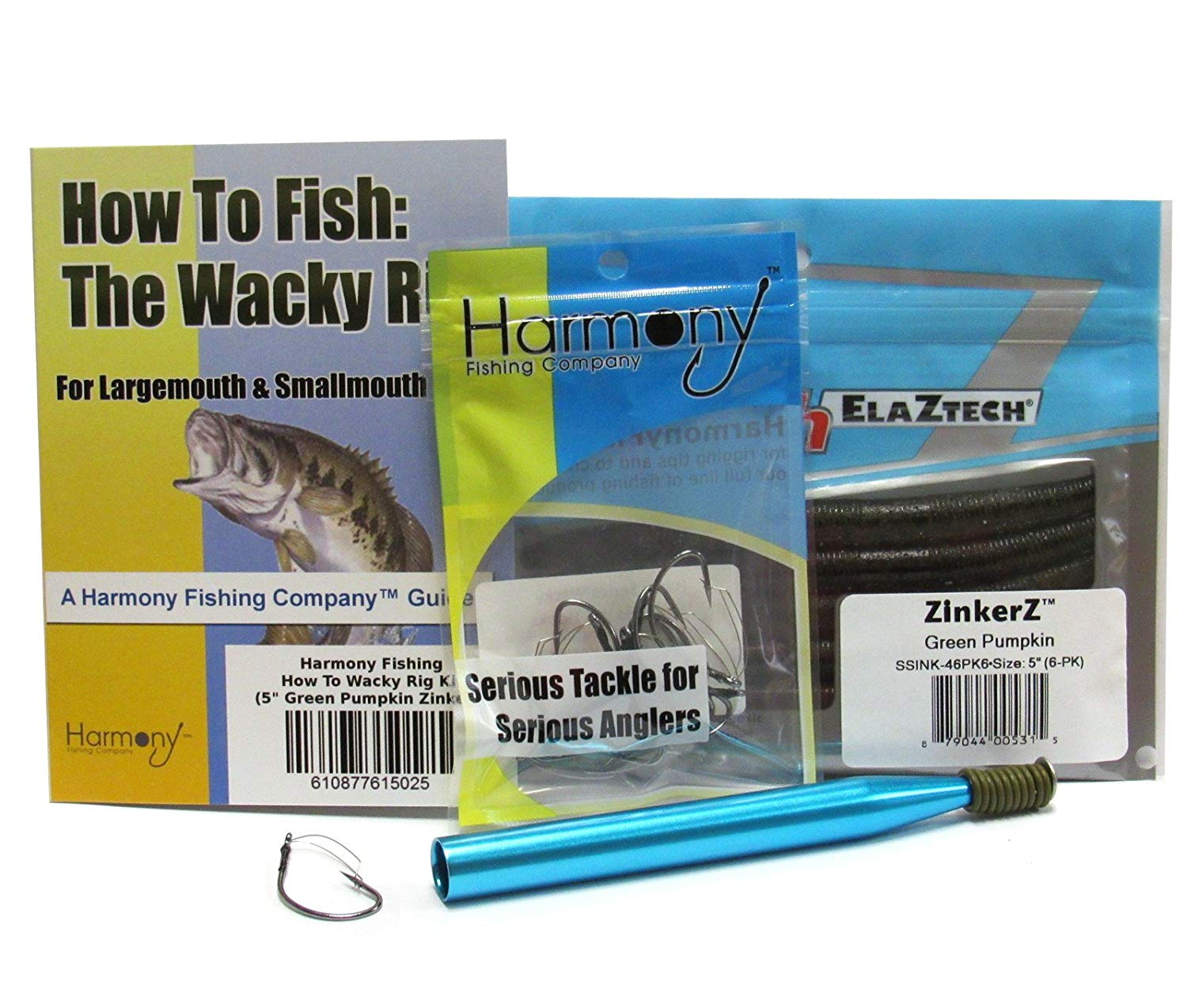 Wacky Rig Kit - Z-Man ZinkerZ 6pk + Wacky Weedless Hooks 10pk + Wacky Tool w/10 Wacky Rings + How To Fish The Wacky Worm Guide (Green Pumpkin)