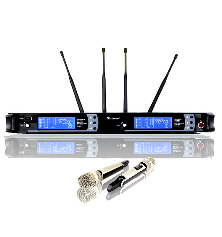 professional High quality wireless set with 2 pcs UHF Microphone 4 Antenna