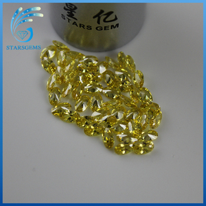 Color changed Artificial transparent round yellow cz stone