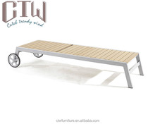 CTW Aluminium Frame <span class=keywords><strong>Strand</strong></span> <span class=keywords><strong>Bed</strong></span>/Plastic Hout Ligstoel Chaise Lounger