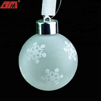 80mm glass Christmas tree hanging ball for xmas ornament with LED light