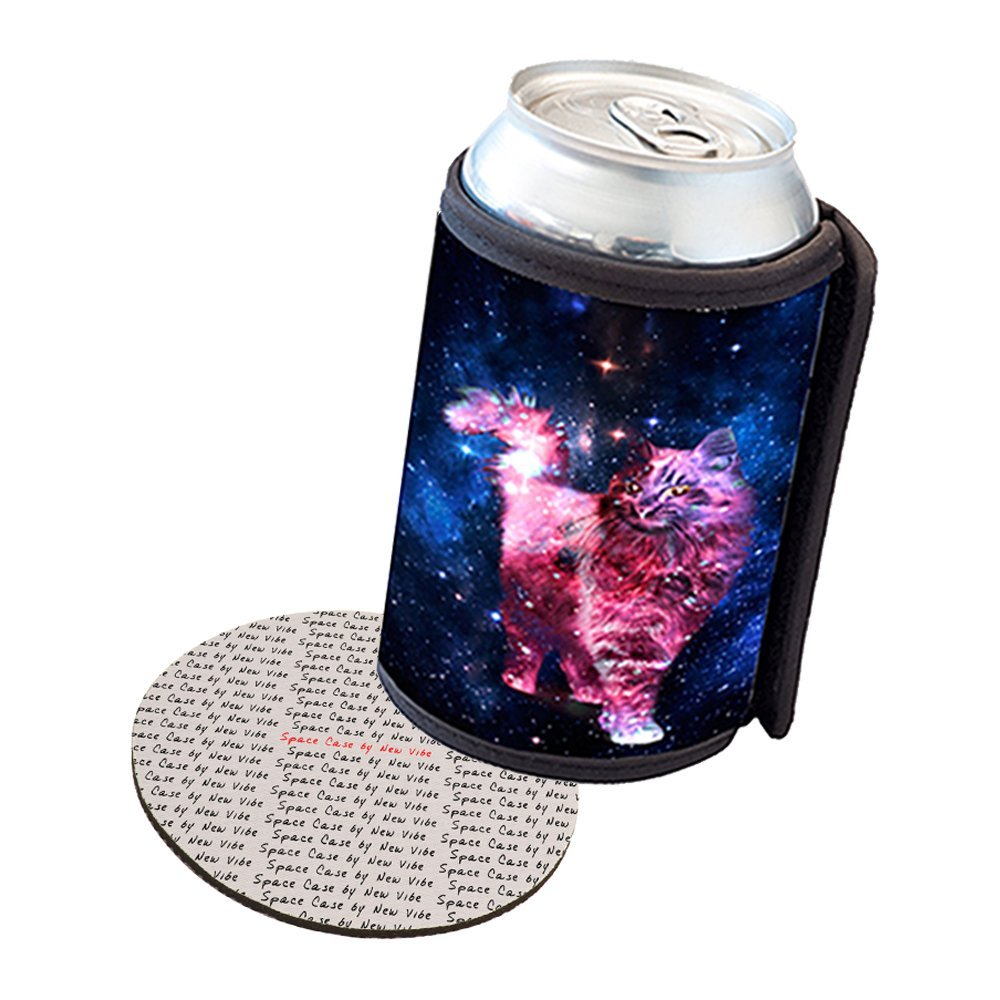Space Case by New Vibe Can Cooler Koozie - Cat Nebula
