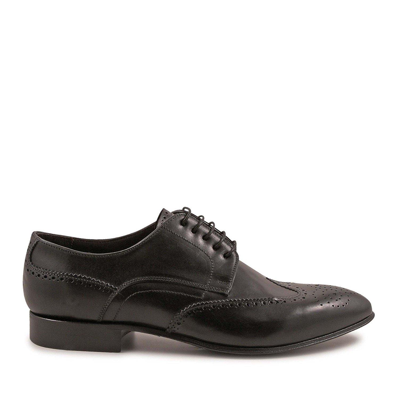 LEONARDO SHOES Men's 4698MONTECARLONERO Black Leather Lace-up Shoes