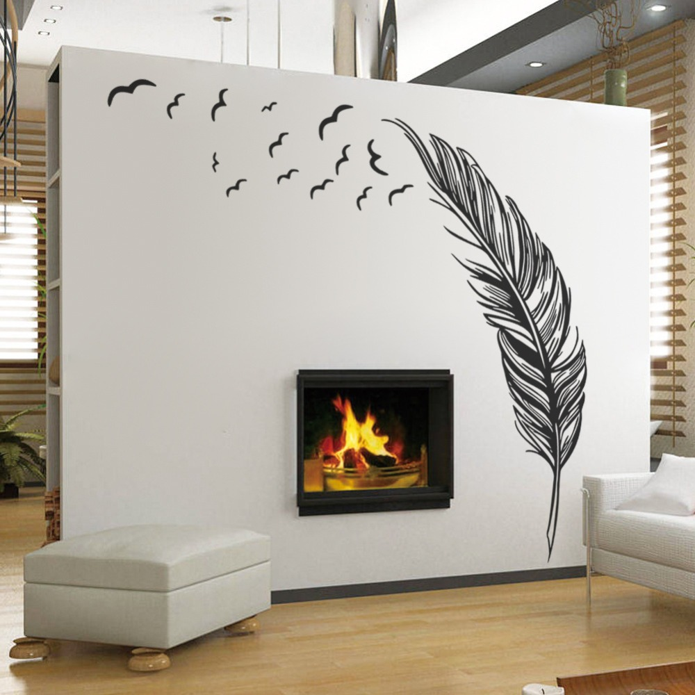 Wall Stickers Decoration For Home: Large Feather Plant Living Room Sticker 3D Wall Stickers