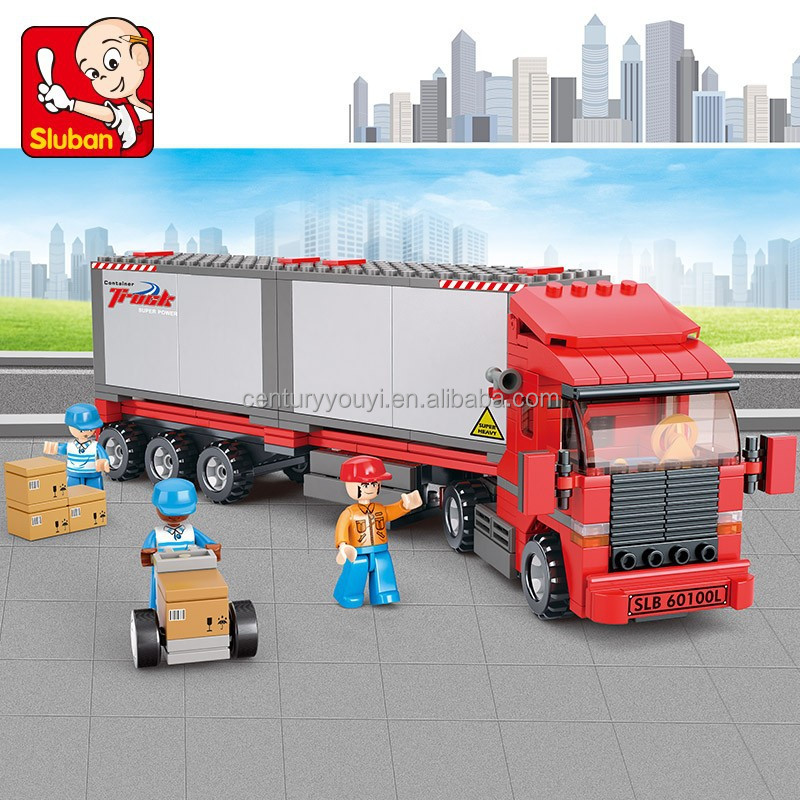 Sluban children's plastic toys building blocks set container truck toy for wholesale