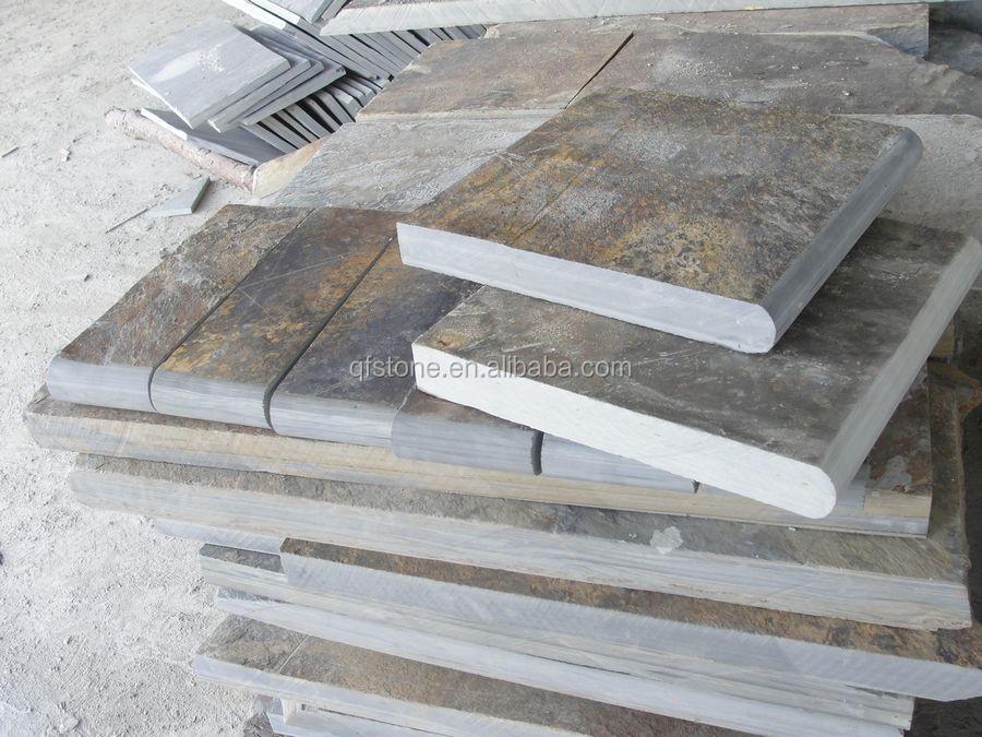 Natural Black Stone Bullnose Slate Stairs Tread