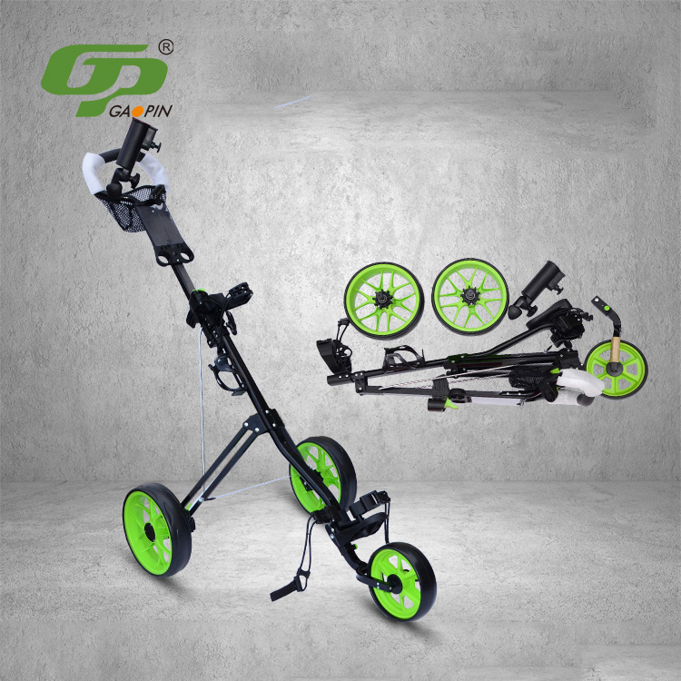 New Products Golf Trolleys Multi-Function Golf Carts & Steel beariang wheel core collapsible storage with brake device