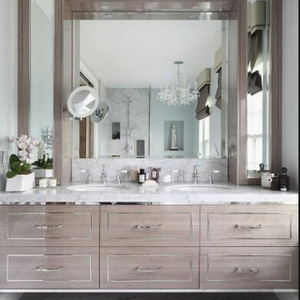 Unique Solid wood bathroom cabinets with drawer box, hinges, drawer glides, mirror and vanity top