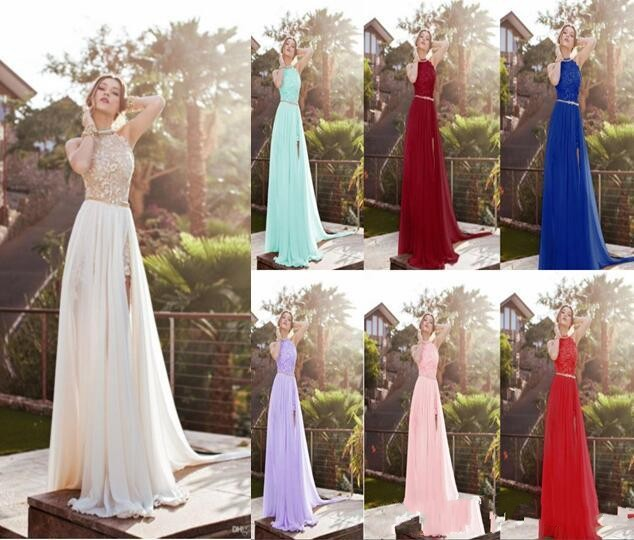 ZH0803X 2019 Halter Lace Top Sexy Backless Beach Prom Dresses Cheap Eight Colors Split Evening Gown Boho Dresses