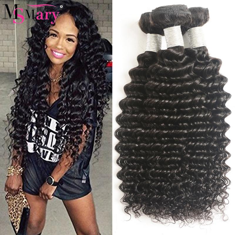 Brazilian Deep Wave Curly Weave Hair Grade 9A Virgin Human Hair Bundles