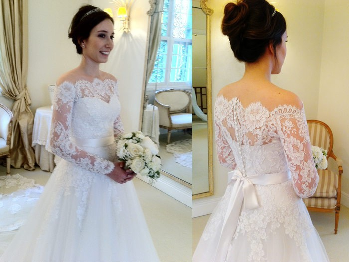 A Line Wedding Gown With Sleeves: Vintage Lace Wedding Gown A Line Off The Shoulder Full