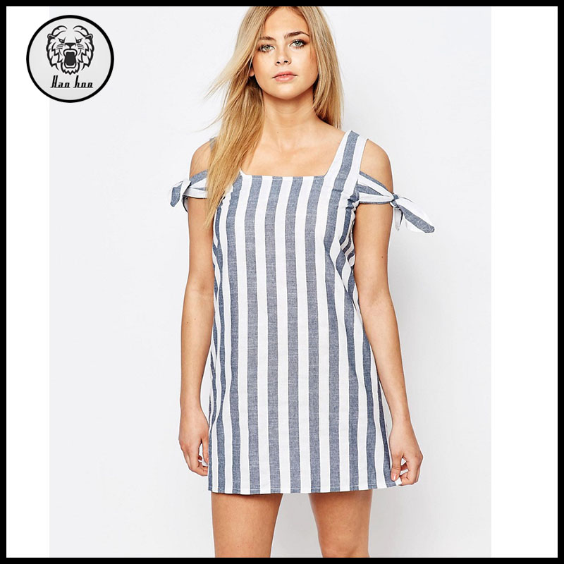 Women Clothing Striped Off The Shoulder Shift Romper Dress