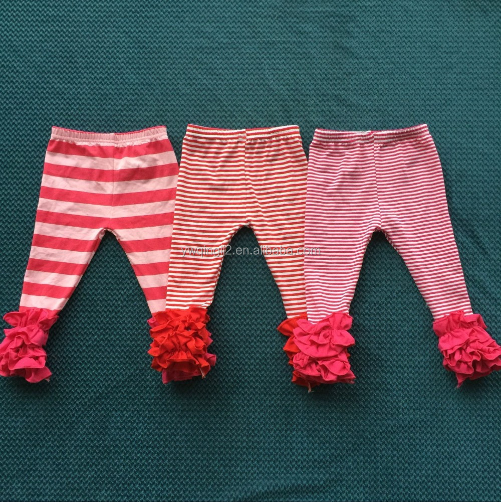 XF-001 Toddler hot sale children's saw sassy icing leggings kids striped pants baby girl's capris icing ruffle pants