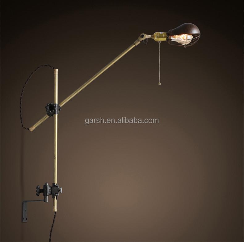 Antique Swing Arm Brass Iron Wall Lamp Adjustable